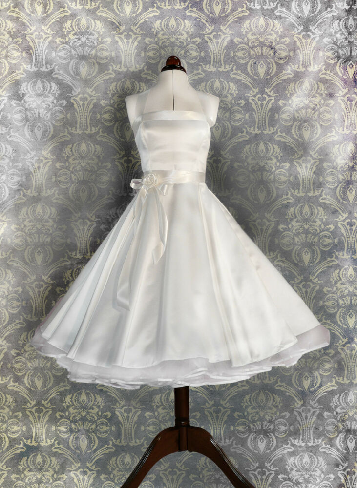 brautkleid hochzeitskleid kurzes 50er petticoat standesamt kleid wei abendkleid ebay. Black Bedroom Furniture Sets. Home Design Ideas