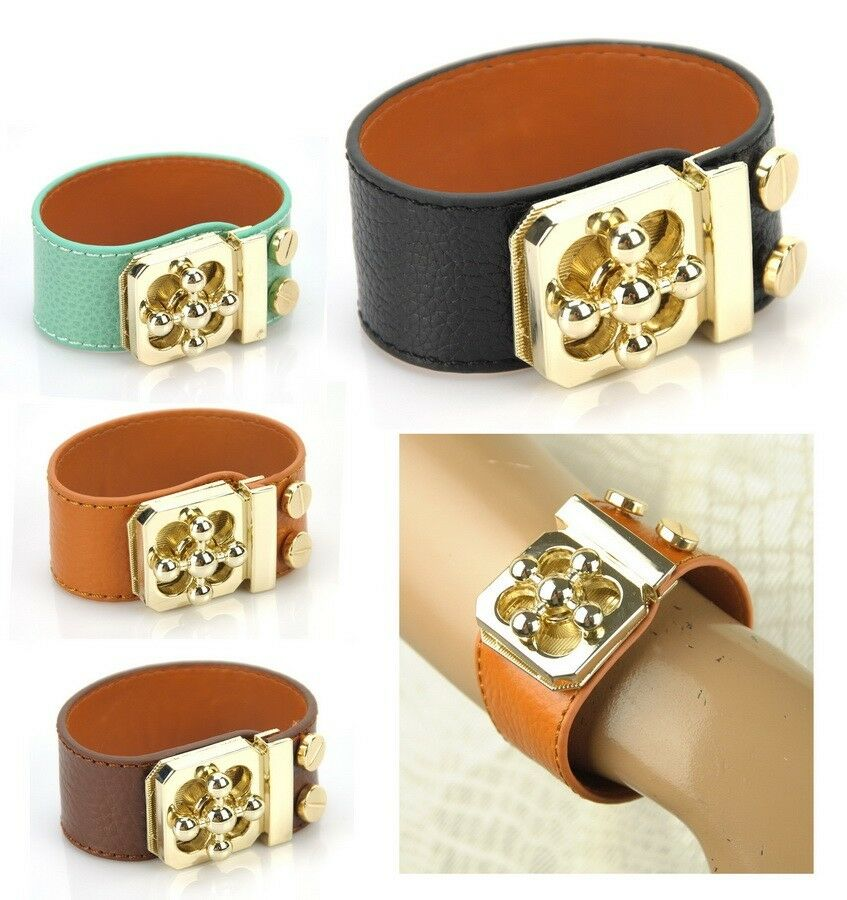 Cuff Bangle Bracelet: Women Genuine Leather Bracelet Gold Twist Lock Bangle Wide