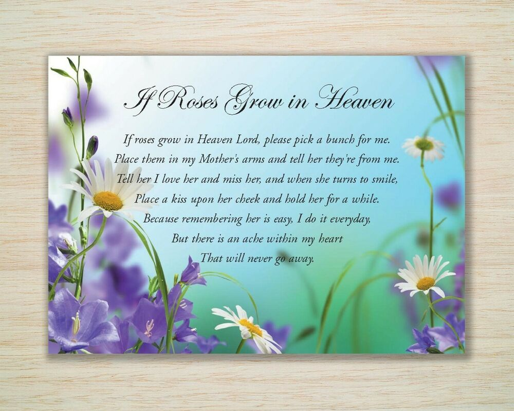 "Memorial Mother Birthday A5 Card ""If Roses Grow in Heaven ..."