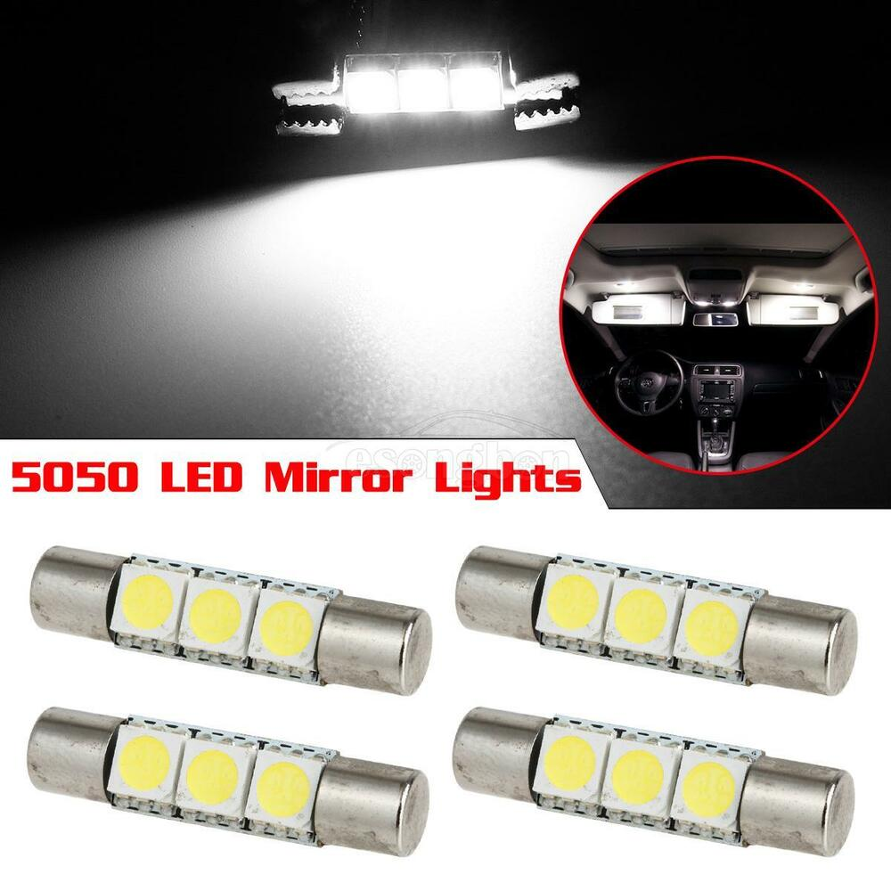 4 xenon white 3 smd 6641 led bulbs for car vanity mirror lights sun visor l. Black Bedroom Furniture Sets. Home Design Ideas