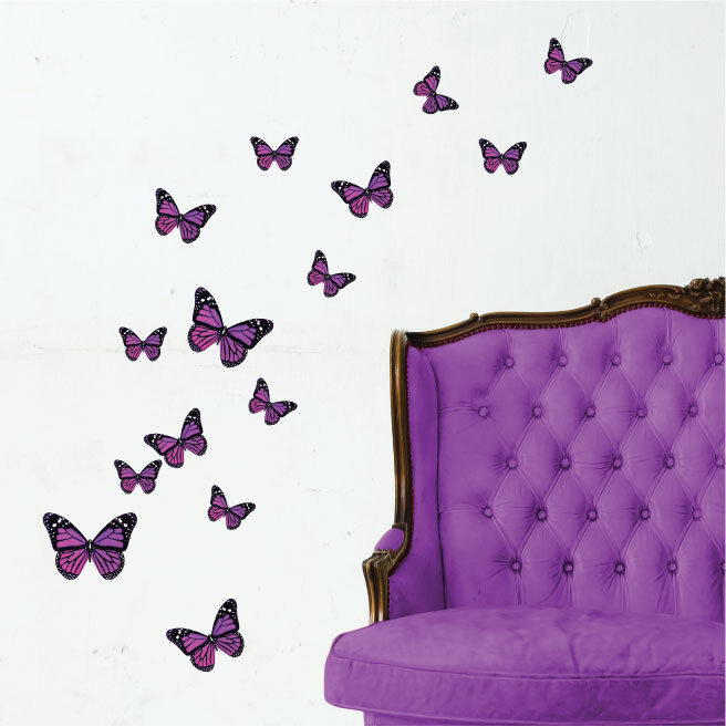 Colourful butterfly vinyl wall art stickers butterflies for Butterfly wall mural stickers