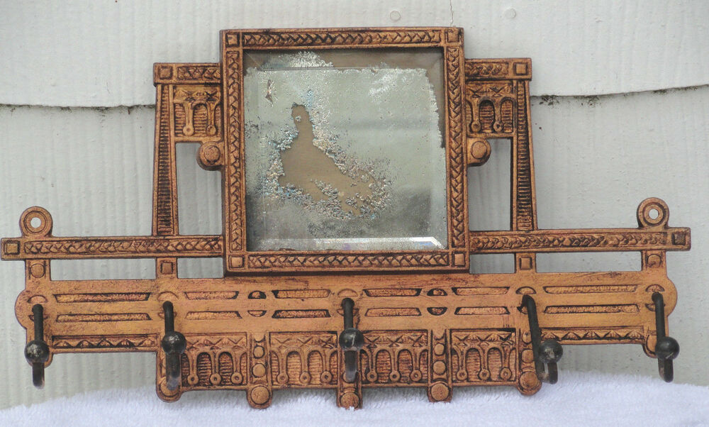 Ornate Victorian Cast Iron Mirror Rack With 5 Coat Hat