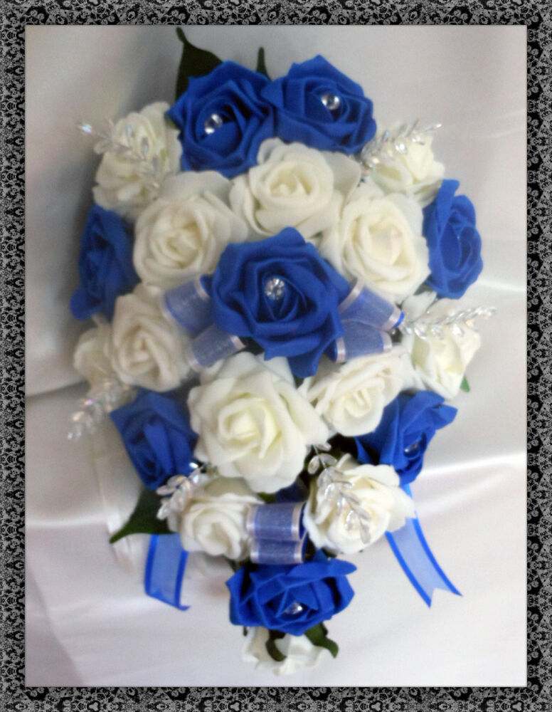 Royal Blue And Ivory Wedding Bouquets : Brides teardrop bouquet wedding flowers ivory royal