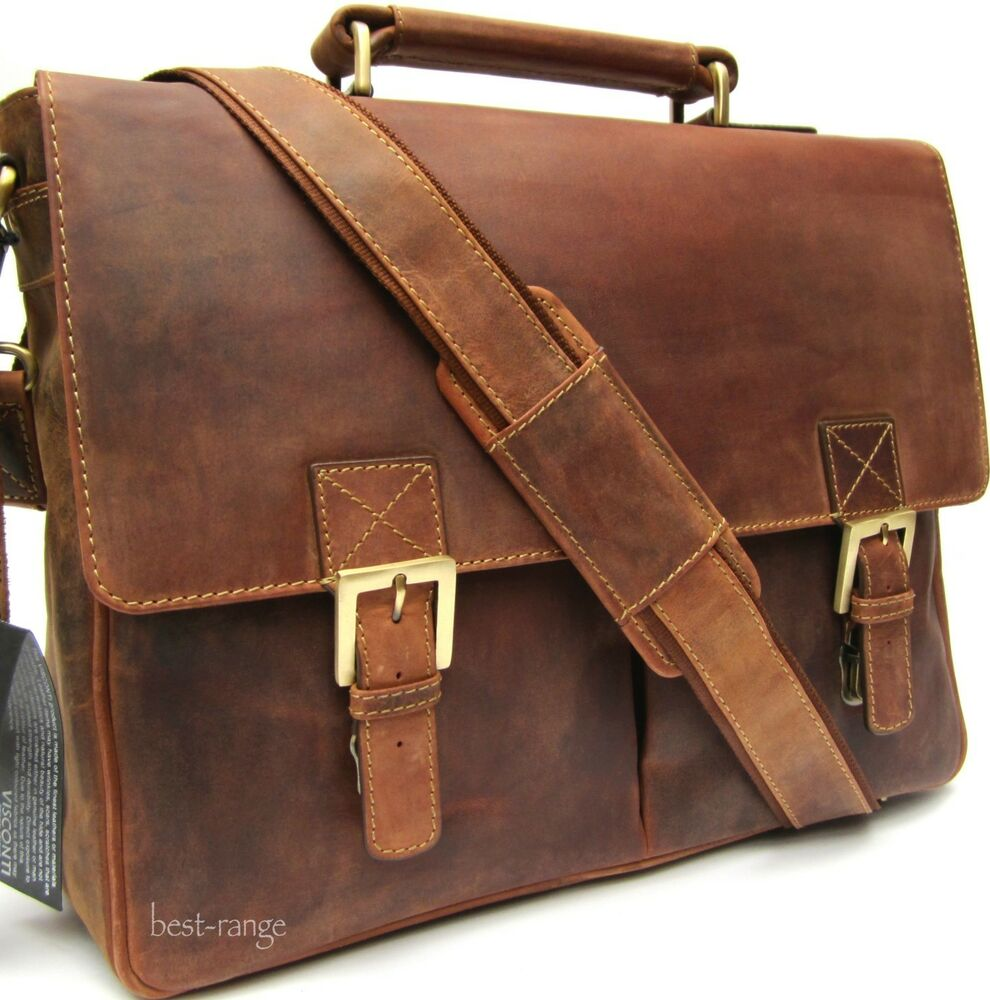 Briefcase Messenger Bag Real Leather Oiled Tan Large