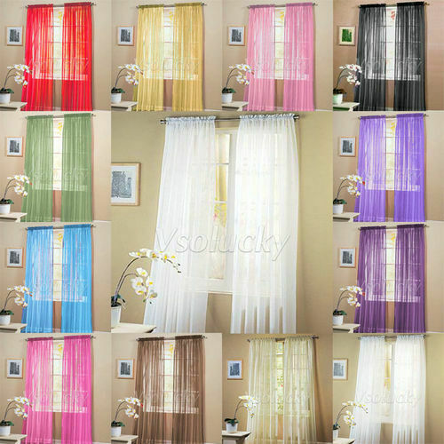 Solid Sheer Voile Window Panel Curtains Drape Treatment Scarf Decor ...