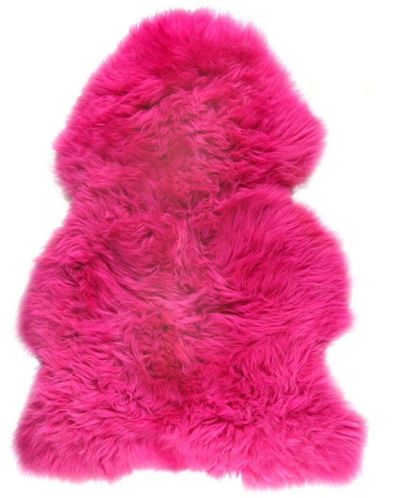 British Large Genuine Sheepskin Rug Cerise Pink Single