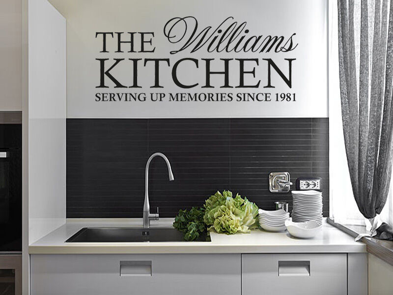 personalised family kitchen wall art quote wall sticker. Black Bedroom Furniture Sets. Home Design Ideas