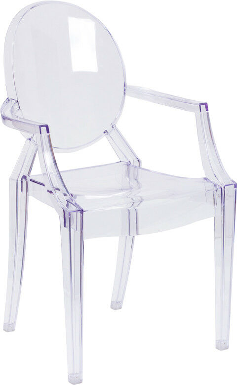 Modern Ghost Chair With Arms In Transparent Crystal