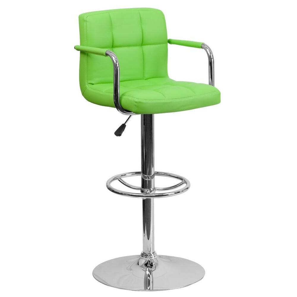 Green Quilted Vinyl Adjustable Height Bar Stool With Arms