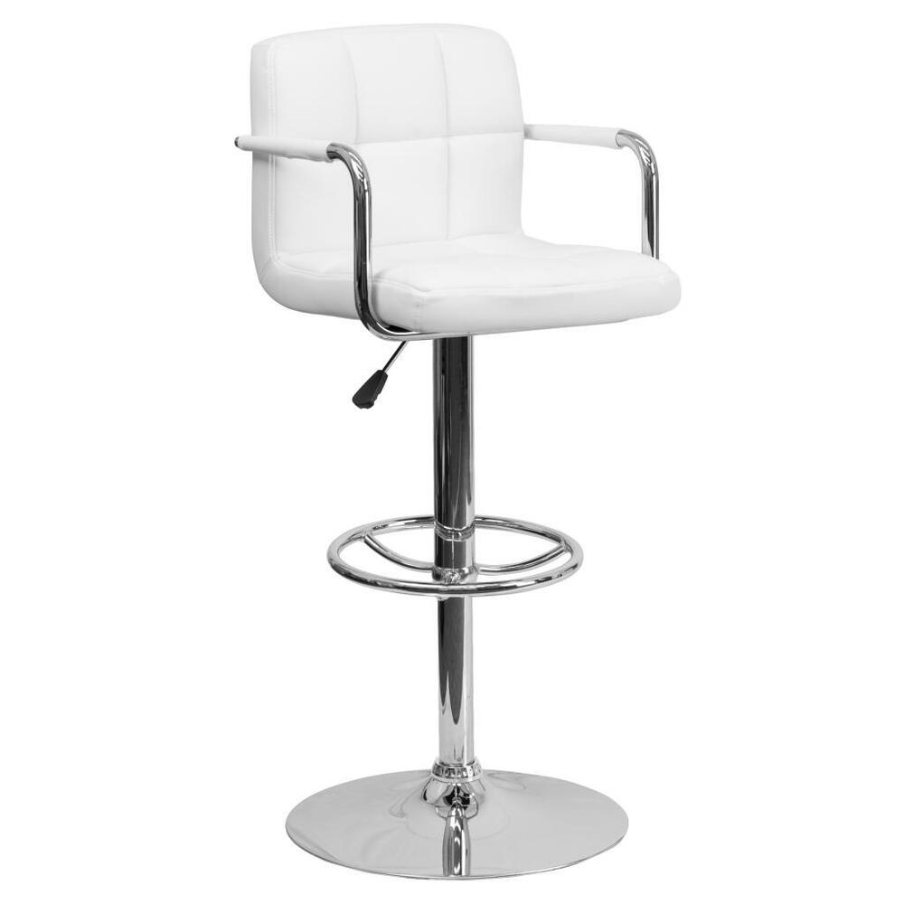 White quilted vinyl adjustable height swivel bar stool for Bar stools with arms