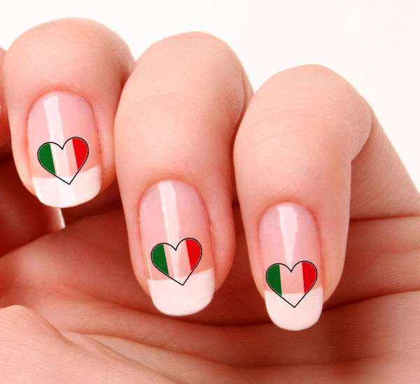 20 Nail Art Decals Transfers Stickers #279 - Italian Flag Heart ...