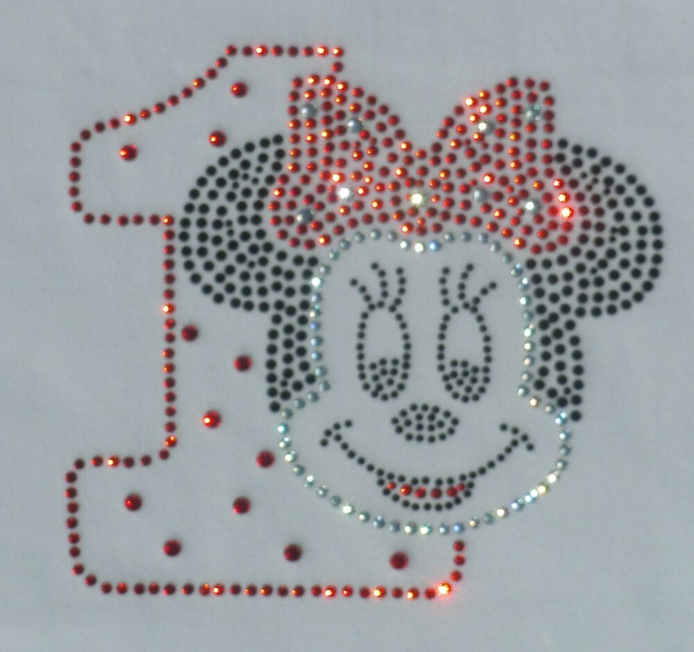 Red Minnie Mouse 1st Birthday Bling Iron On Disney