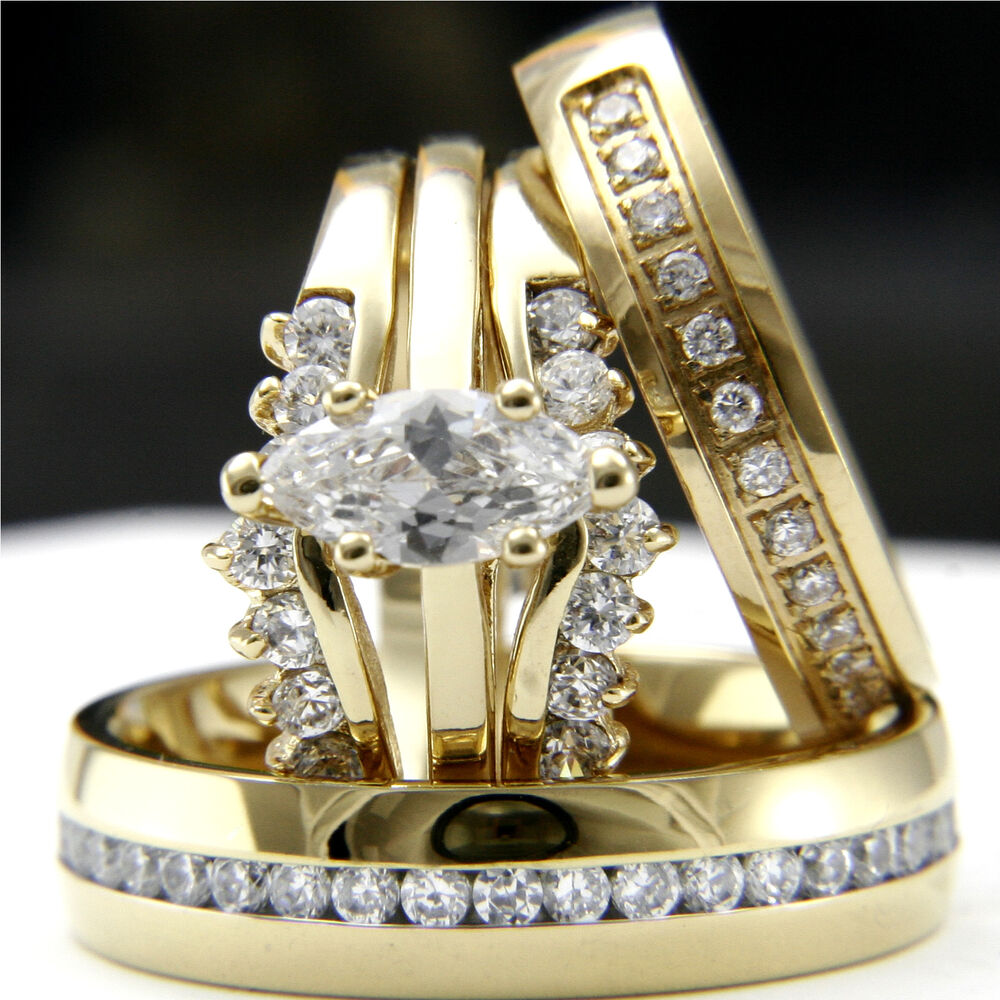 Gold Tone 0 9Ct CZ Solitaire Engagement Woman s Wedding & Man s B