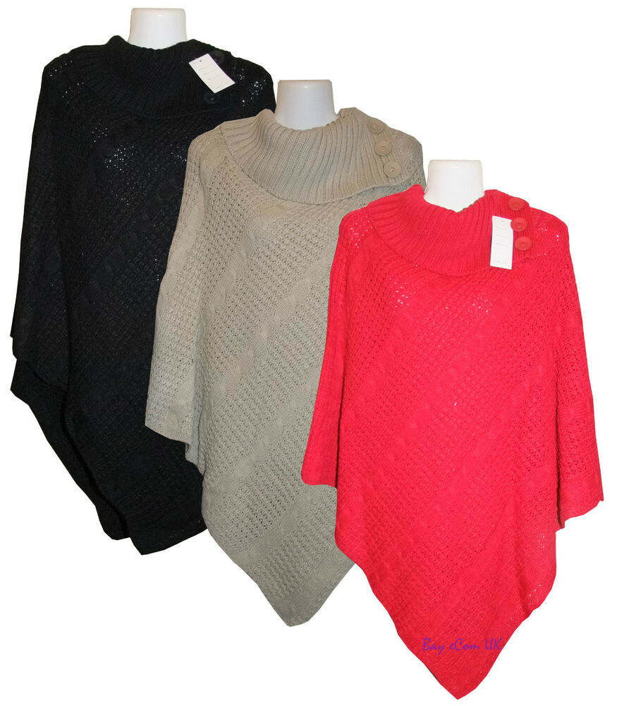 New Ladies Cable Knitted Poncho Sweater Jumper Top UK Plus ...