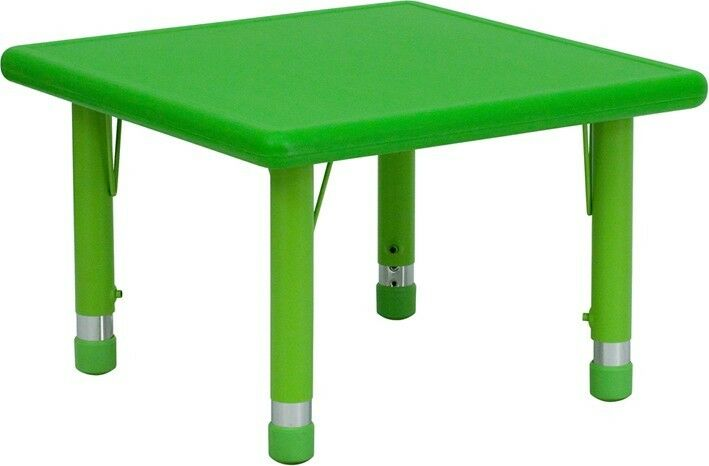 24 39 39 Square Height Adjustable Green Plastic Activity Table Preschoo