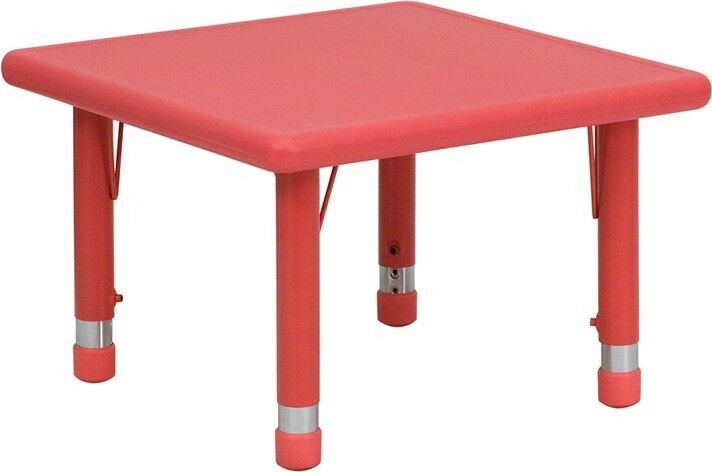 Square Height Adjustable Red Plastic Activity Table Preschool Table