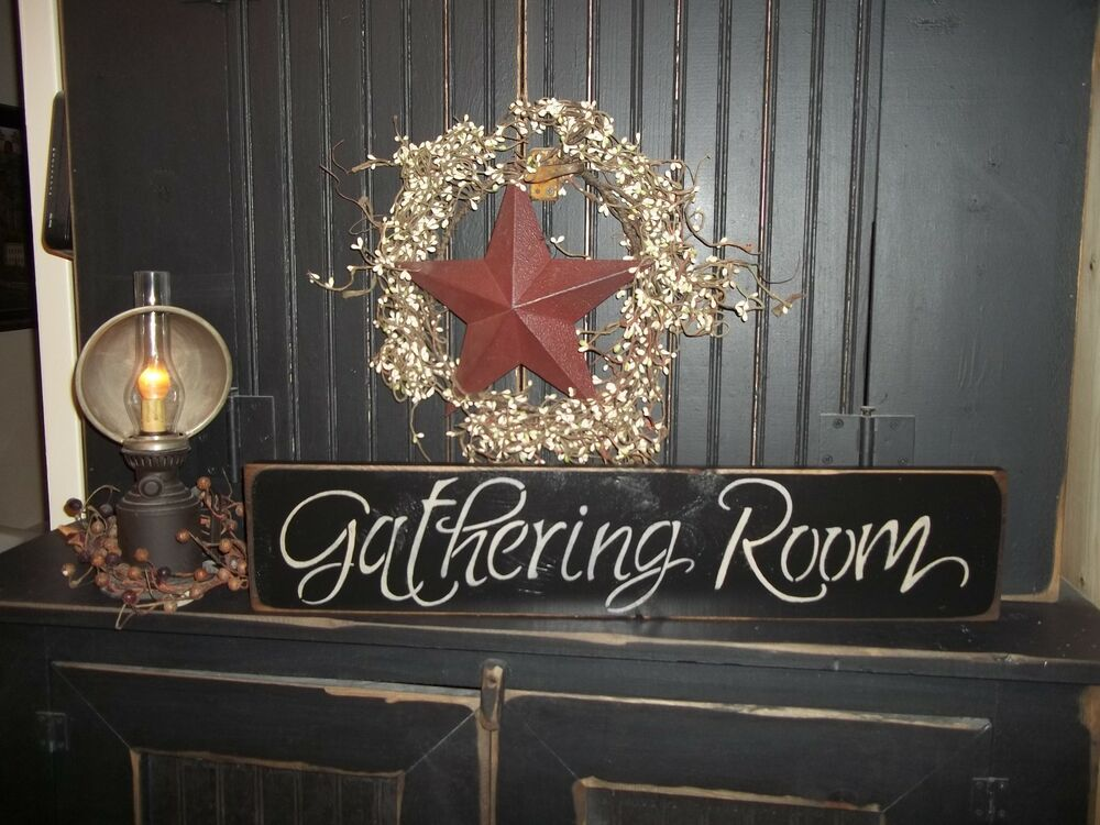 Wood sign rustic prim gathering room country decor sign for Room decor signs