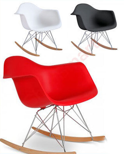 white charles eames inspired rar retro lounge wing rocker. Black Bedroom Furniture Sets. Home Design Ideas
