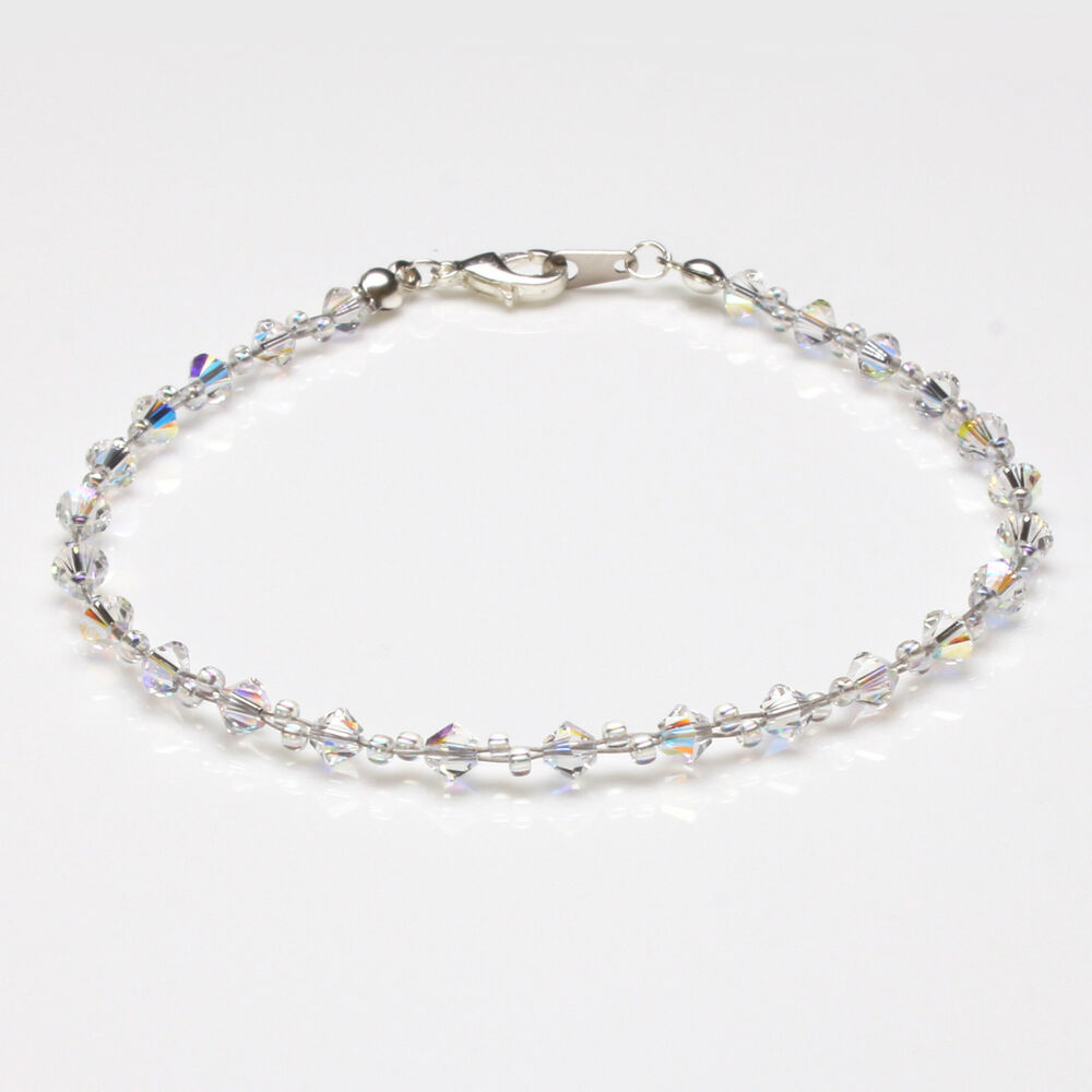 Clear Ab Crystal Twisted Anklet made with Swarovski ...
