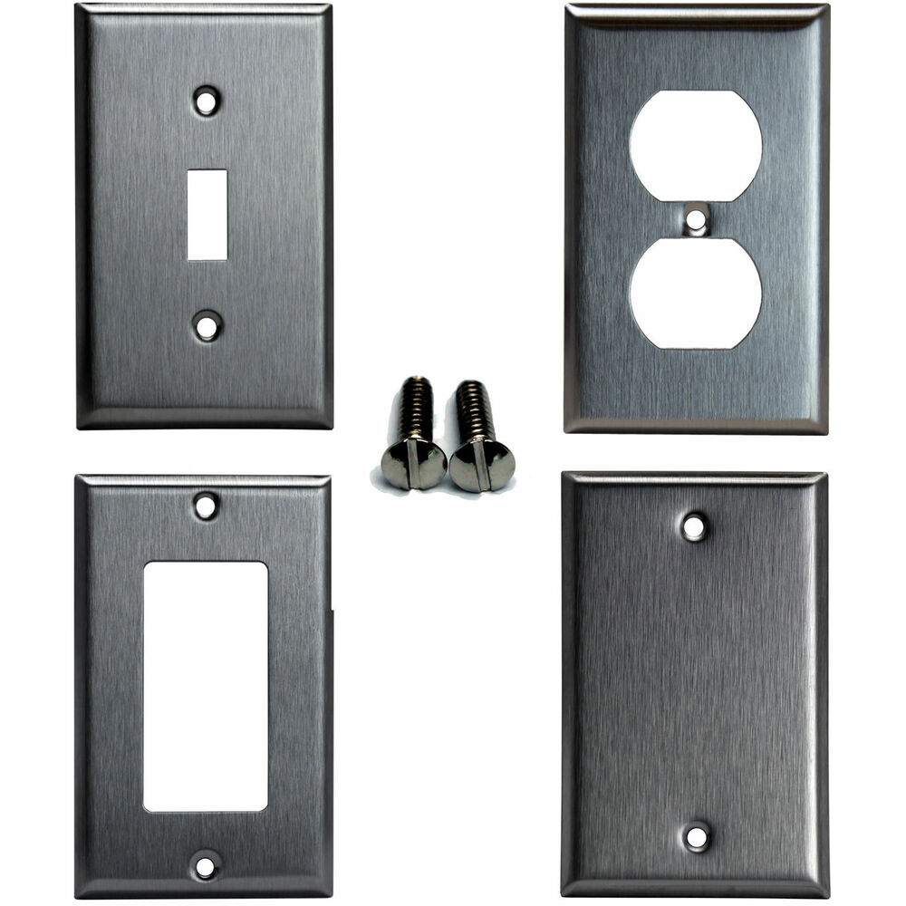 Toggle duplex decorator blank brushed stainless steel