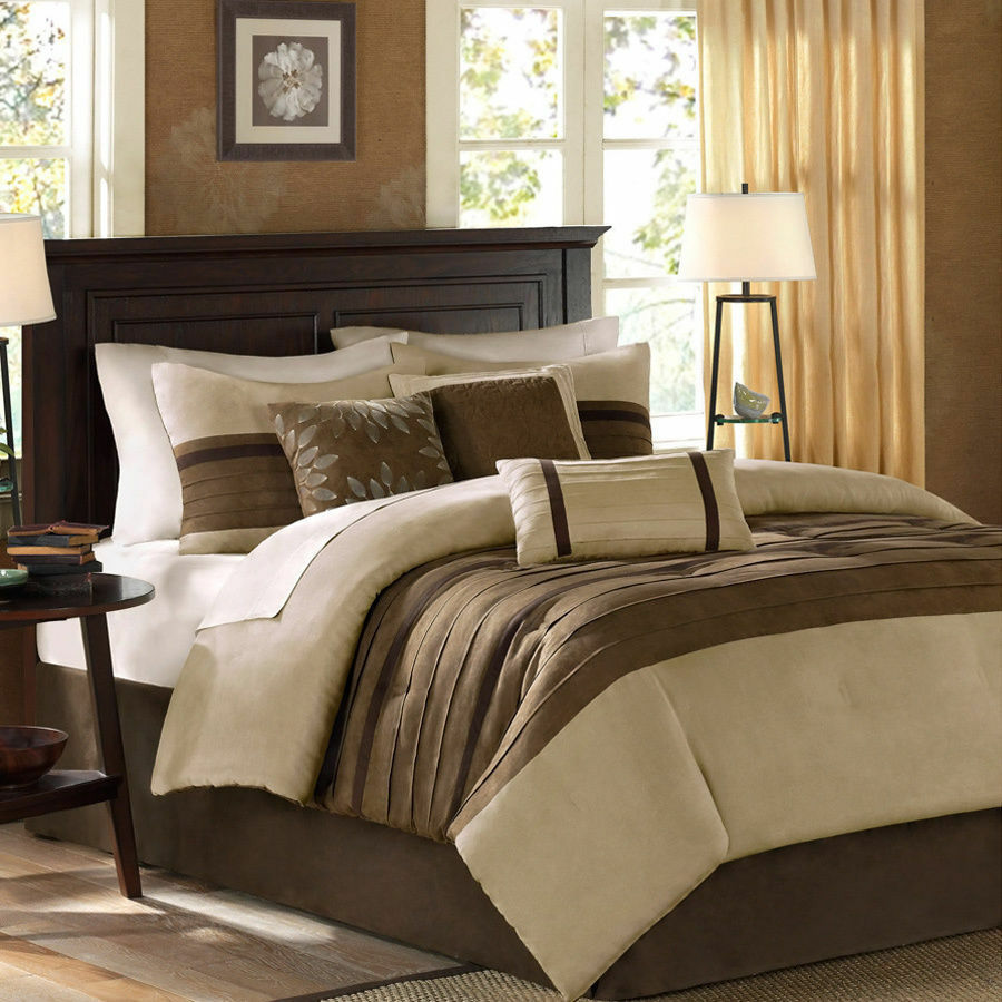 Brown bedding sets queen - Elegant Beige Tan Brown Soft Comforter Set King Queen Szs Ebay
