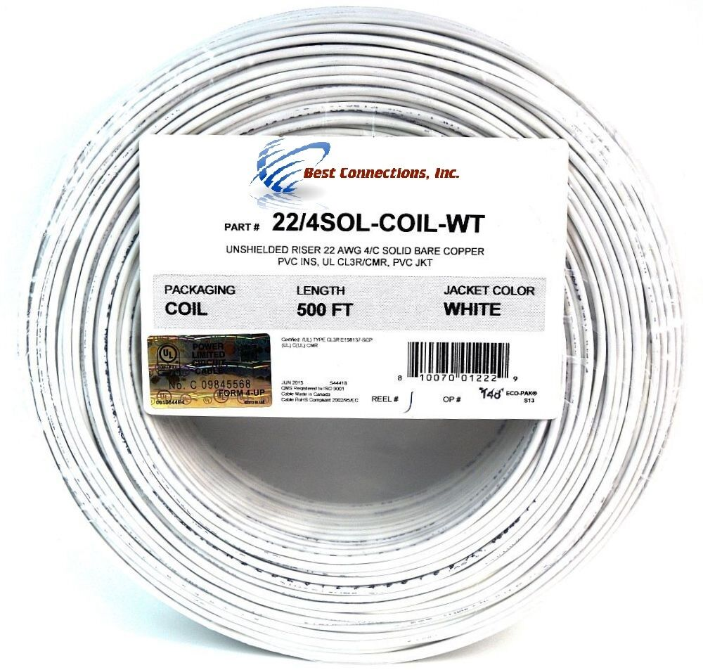 22 gauge 4 conductor white solid copper security alarm wire cable