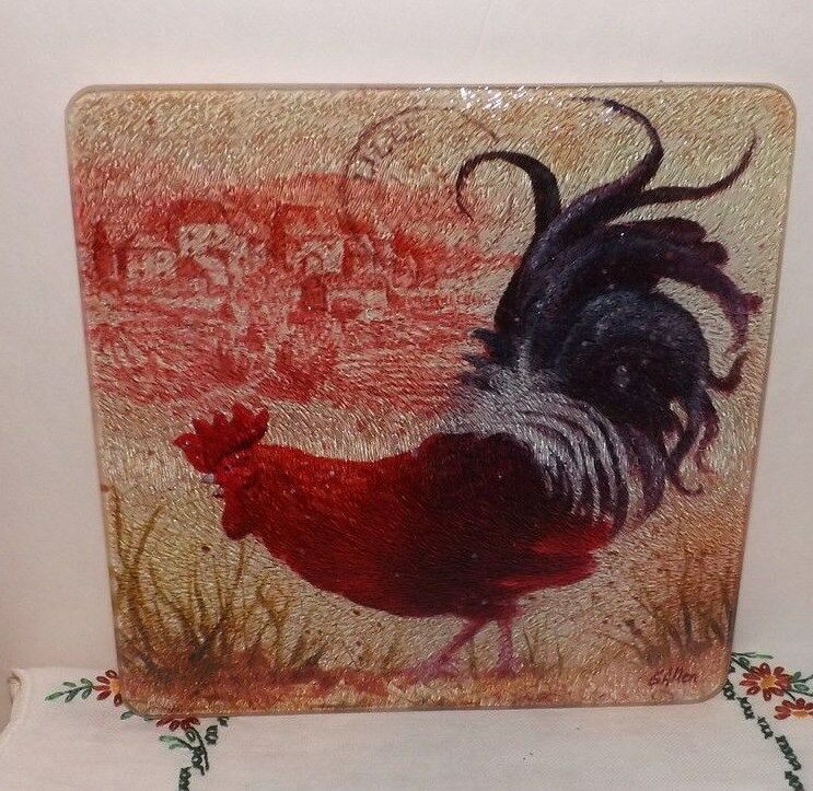 Tempered glass cutting board colorful rooster table decor signed g allen ebay - Decorative tempered glass cutting boards ...
