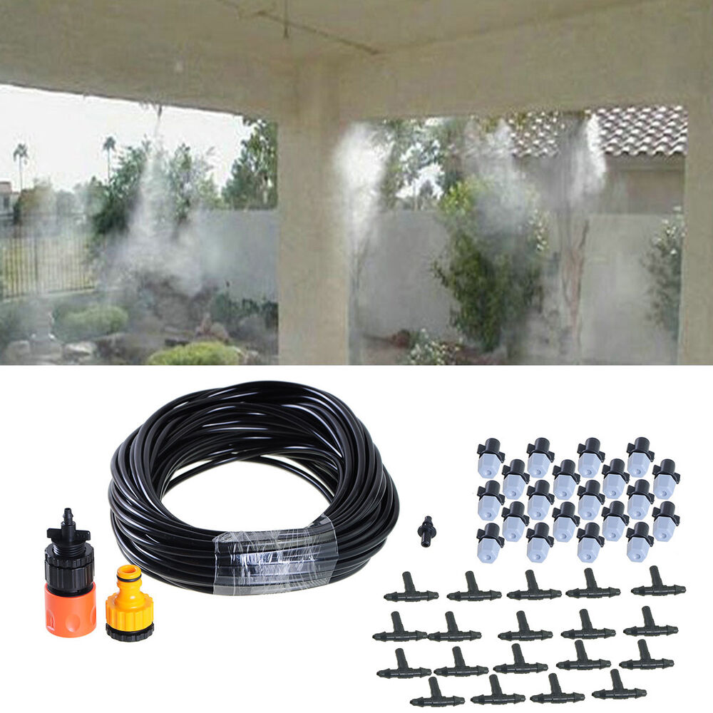 Water Mist Cooling Systems : M ft outdoor garden misting cooling system plastic