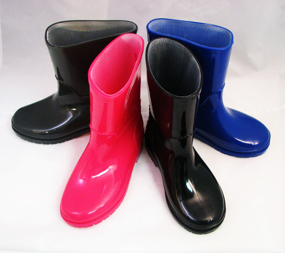 New Childrens Rain Boots Kids Boys Girls Rubber Snow Slip ...
