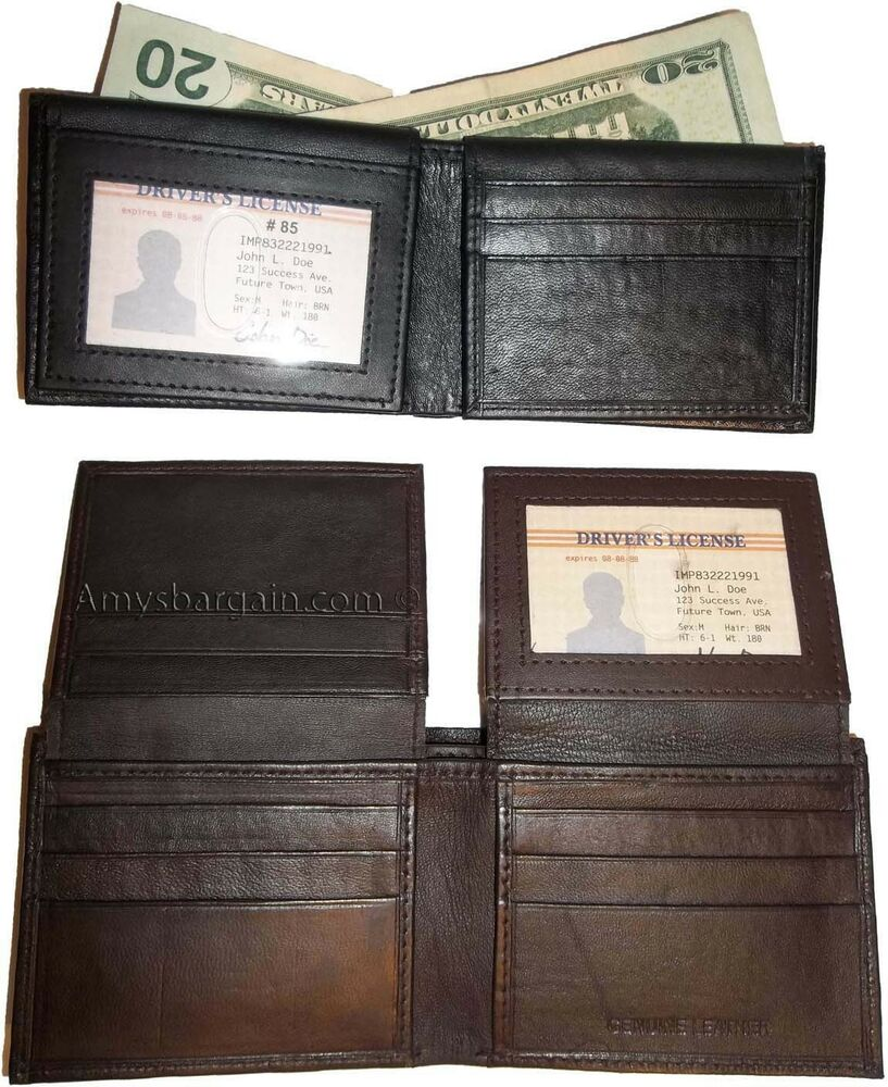 Man 39 s leather wallet 12 card debit card holder 2 id window for 2 id window wallet