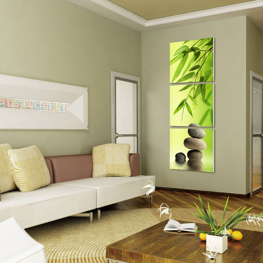 Zen stone bamboo ready to hang 3 mounted mdf panel wall for 3 panel wall art