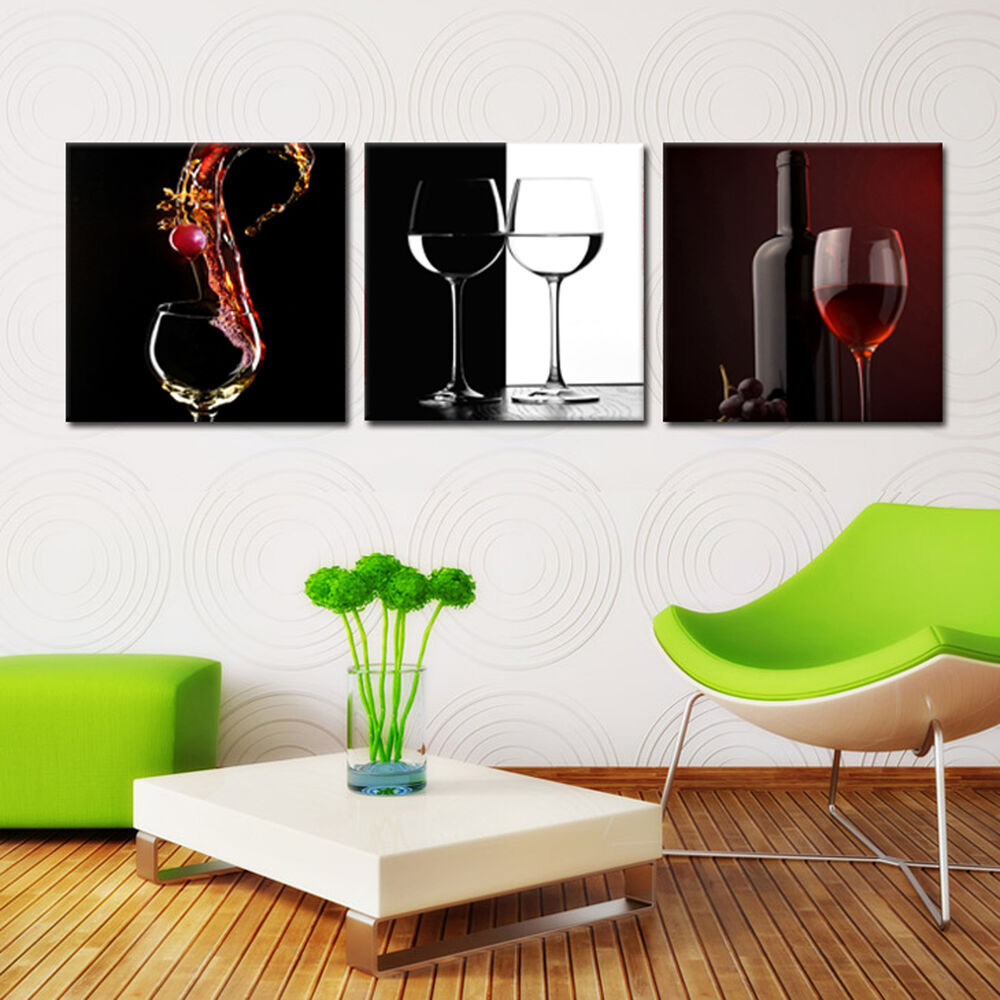wine glass ready to hang 3 pc wall art print mounted on mdf improved canvas art ebay. Black Bedroom Furniture Sets. Home Design Ideas