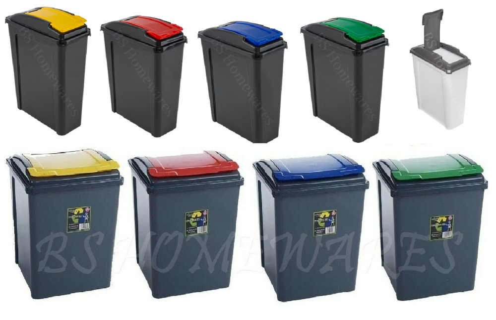 plastic kitchen recycle bin 25 50 l dustbin garden waste rubbish recycling home ebay. Black Bedroom Furniture Sets. Home Design Ideas