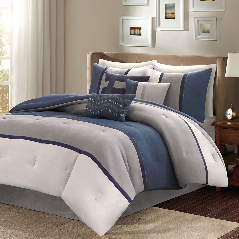 Beautiful Ultra Soft 7 Pc Blue Grey Navy Modern Stripe Comforter Set Amp Pillows Ebay