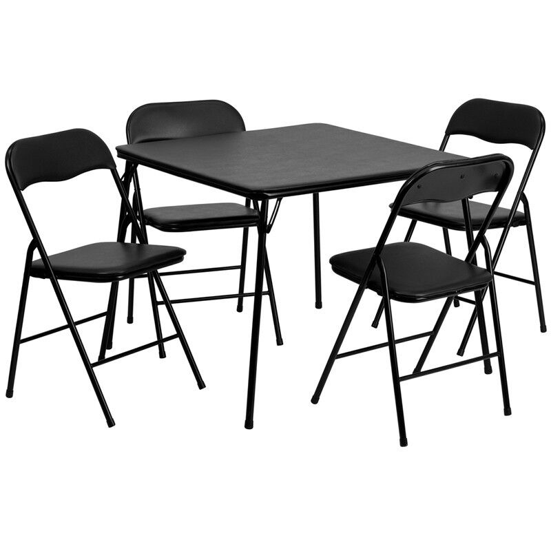5 Piece Black Color Folding Card Table and Chair Set Camping Table & Ch