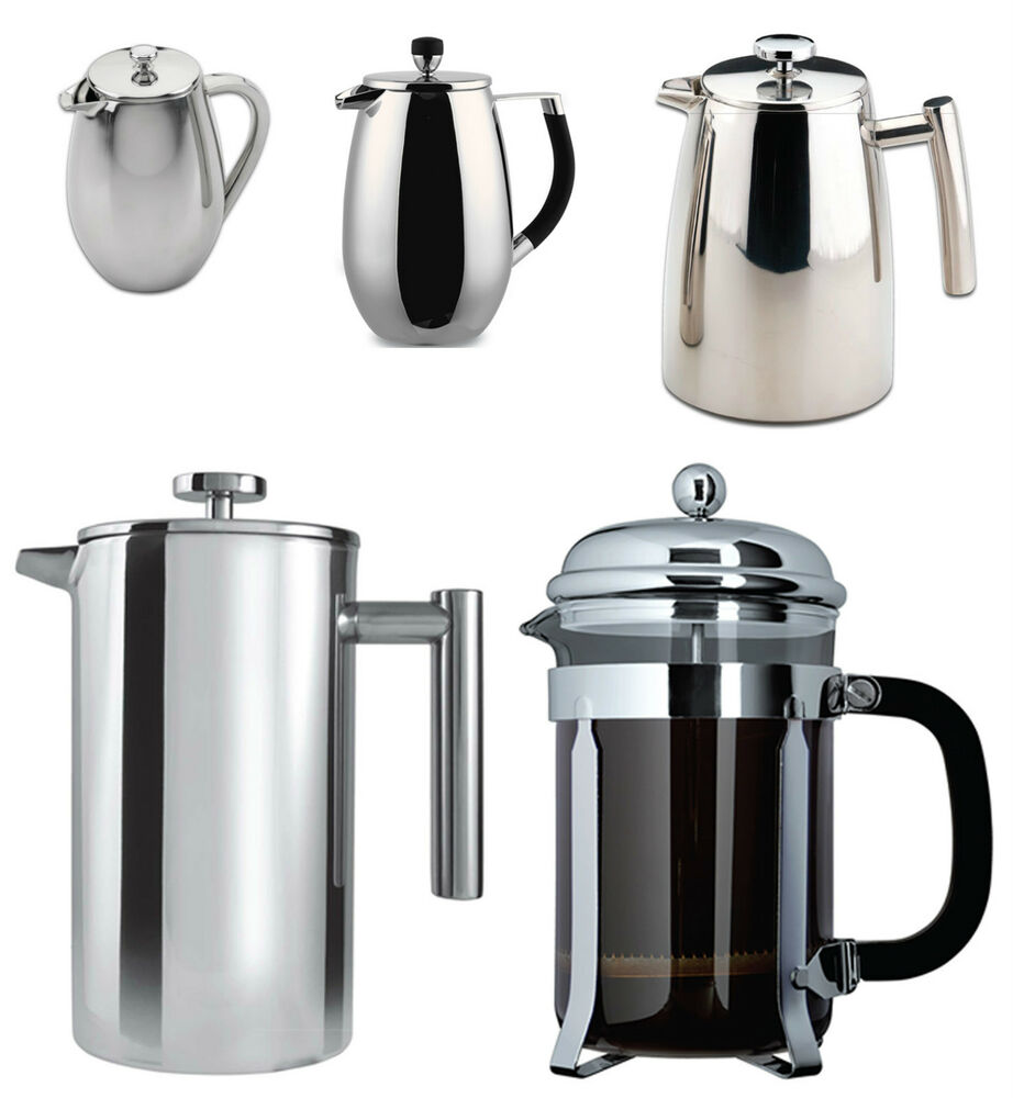 grunwerg double wall stainless steel or glass cafetiere french coffee press ebay. Black Bedroom Furniture Sets. Home Design Ideas