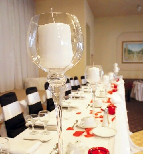 "Candle Flower Centerpieces Wedding: Tall Glass Cup Candle Holder Wedding Centerpiece 16""H X 4"