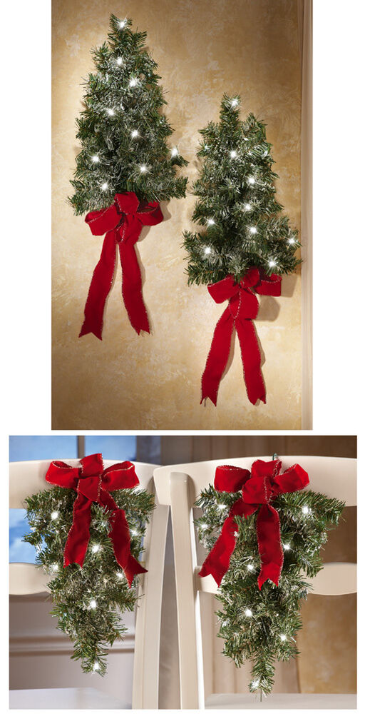 set of 2 lighted holiday wall tree for christmas home chair church accent decor ebay. Black Bedroom Furniture Sets. Home Design Ideas