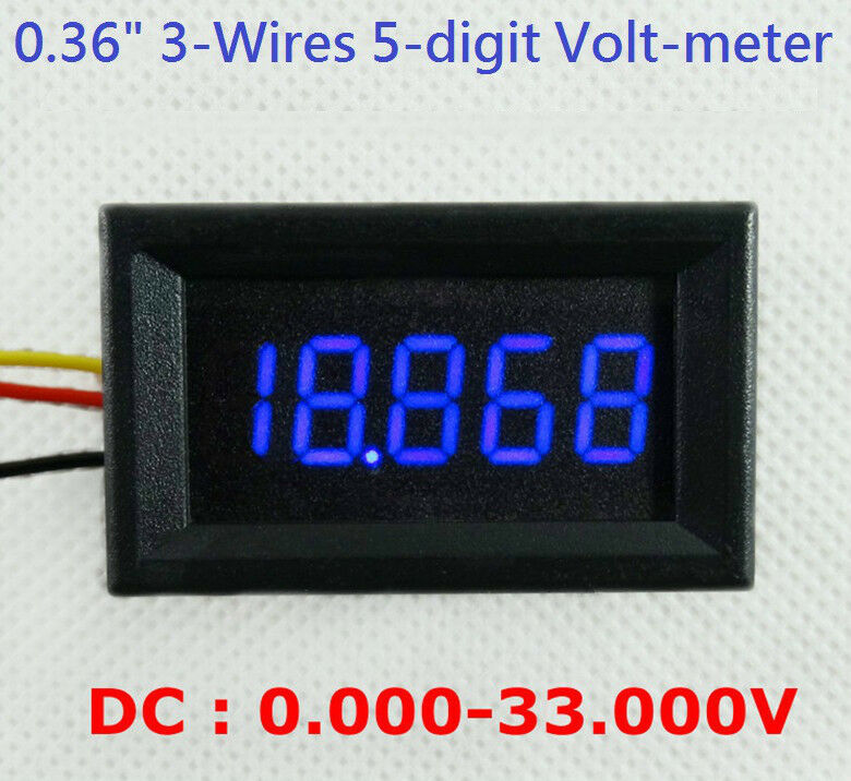 4 1 2 4 5 digit volt meter panel counter blue led dc 0 to 33v 3 wires display ebay. Black Bedroom Furniture Sets. Home Design Ideas