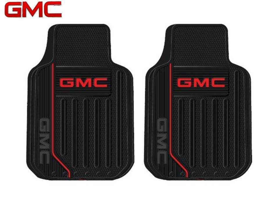 2 Pc Gmc Elite Front Rubber Floor Mats With Logo Fast Same