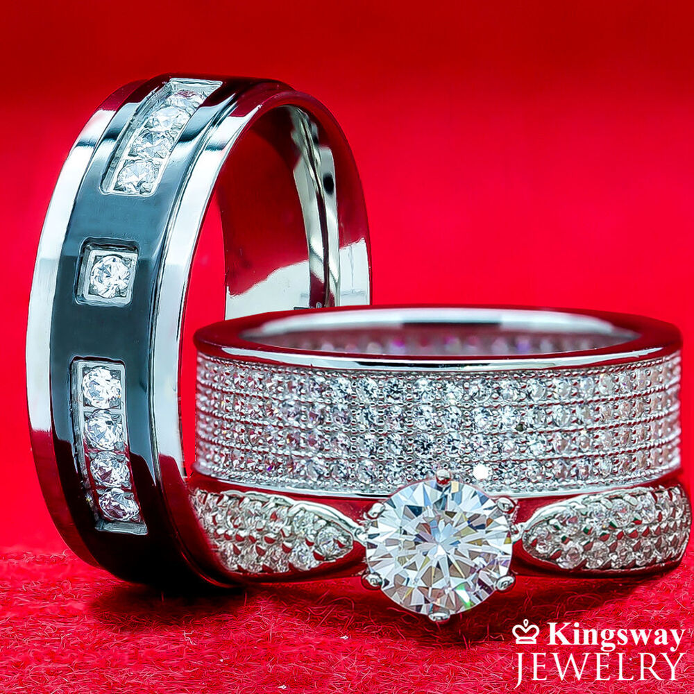 3 pc simulated diamond his hers titanium silver engagement wedding rings set ebay - Wedding Rings Sets His And Hers