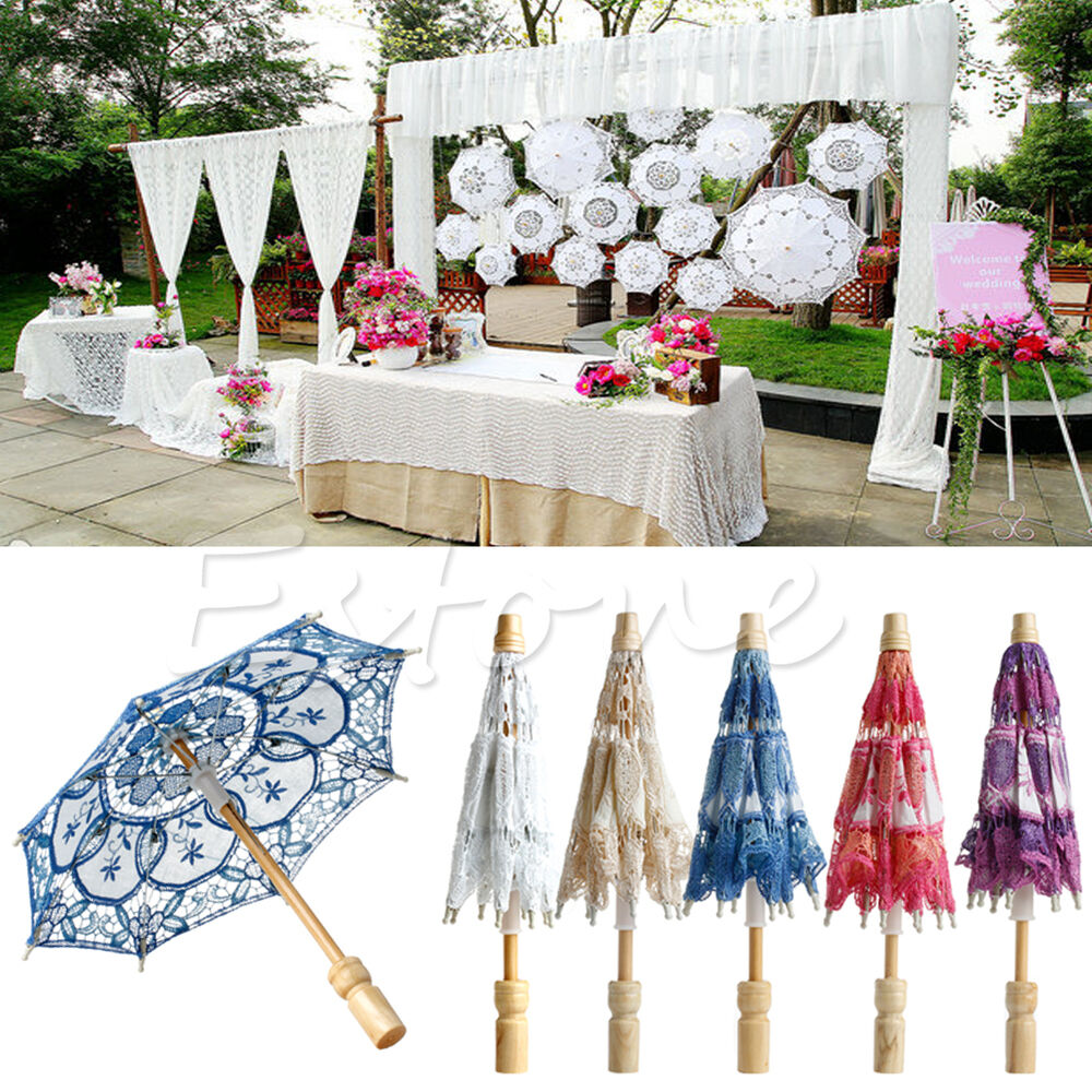 New embroidered lace parasol umbrella for bridal wedding for Decor umbrellas