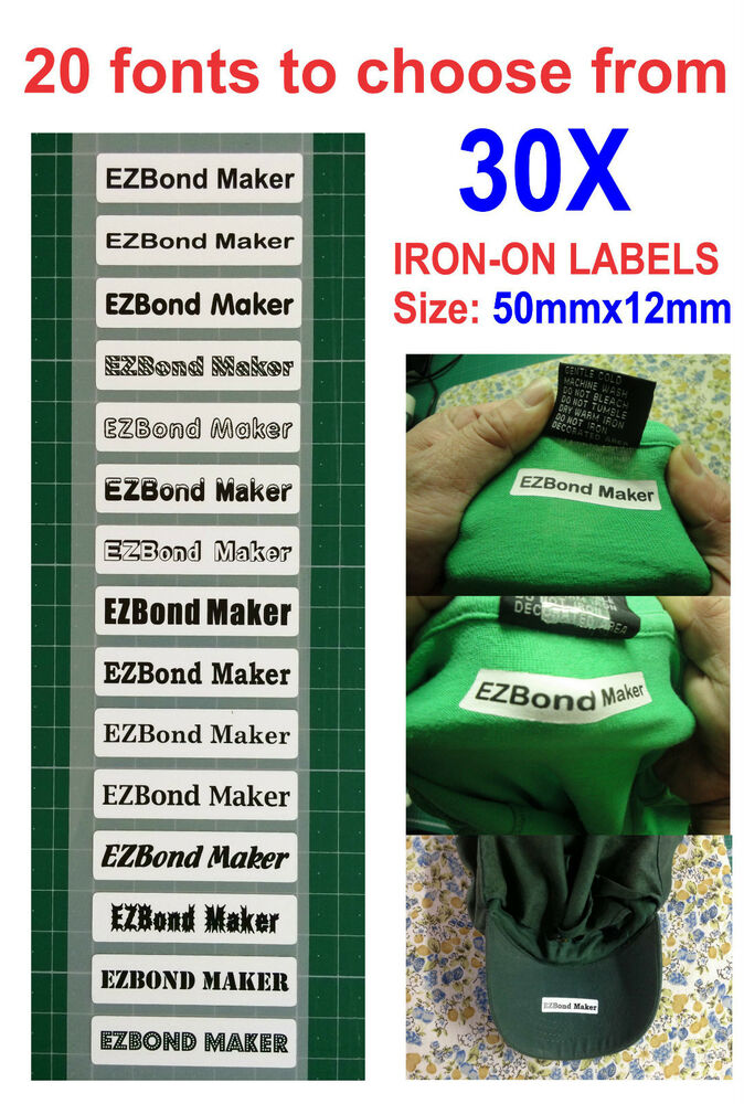 30x Iron On Name Labels Tags Printed For Child Care