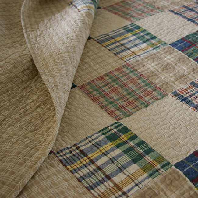 Tan And Blue Plaid Bedding