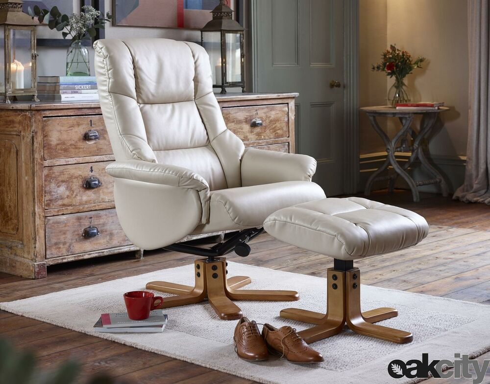 shenhua leather swivel recliner chair and foot stool choice of