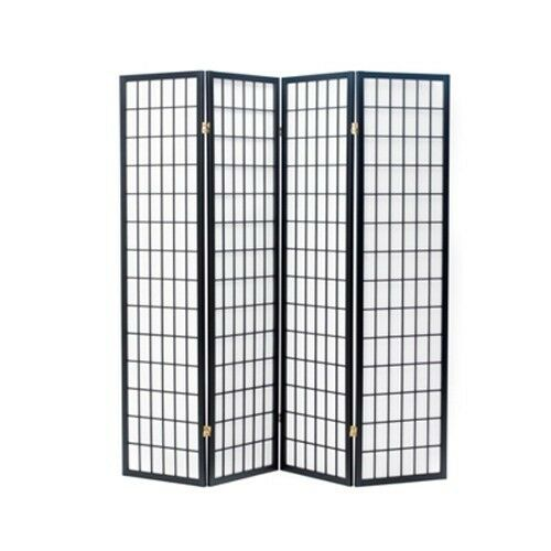 oriental shoji 4 panel screen room divider black ebay