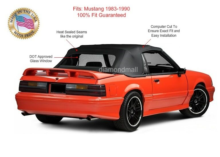Sunroof Glass Replacement >> Ford Mustang Convertible Soft Top Replacement & Glass window BLACK Vinyl 1983-90 | eBay