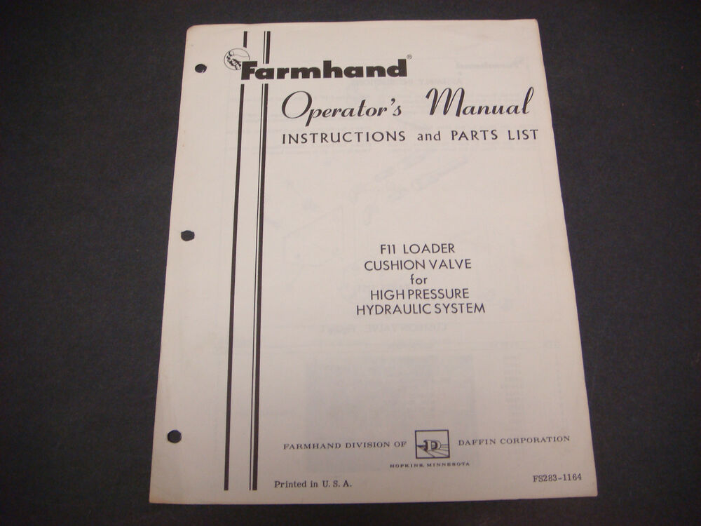 Farmhand Operator's Manual Instructions/Parts List,F11 ...
