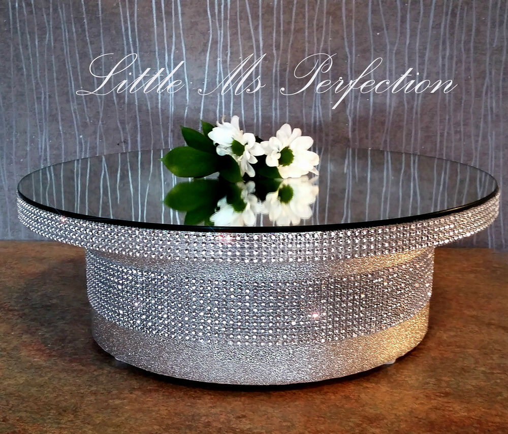 round square gold silver mirror top diamante effect wedding cake stand