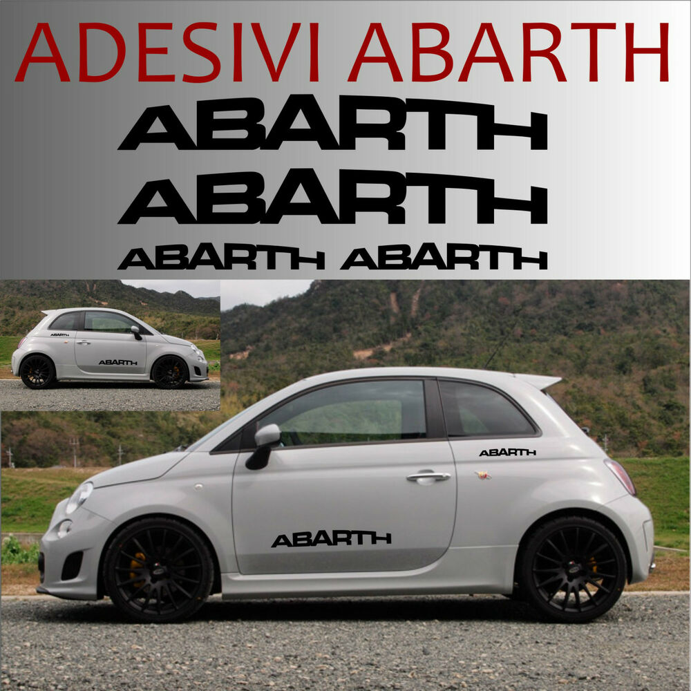 4 adesivi abarth stickers tuning scorpione auto fiat 500 595 store punto ebay. Black Bedroom Furniture Sets. Home Design Ideas